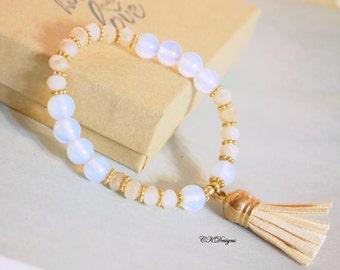 SALE Moonstone Tassel Beaded Bracelet Stack-able bracelet Leather Tassel Beaded Stretchy Bracelet Semi Precious Beaded Bracelet Gift for Her