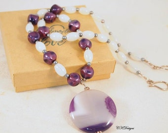 Purple Pendent Necklace, Moonstone and Pearl Beaded Necklace, Gemstone Pendent Necklace, Sterling Silver, OOAK Handmade Necklace.