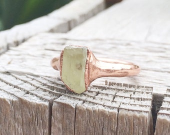 Rough Yellow Apatite Ring | Electroformed Mineral Jewelry | Raw Stone Jewelry | Raw Stone Ring | Yellow Apatite Jewelry | Unisex Jewelry