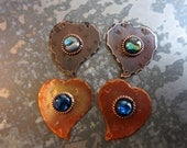 2 Copper Heart Charms, Abalone Shell, Hammered copper