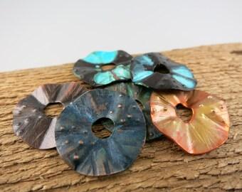 "3/4"" OD Cornflake Bead, Handcrafted Patina Copper Bead, Donut Bead, Handmade Findings"
