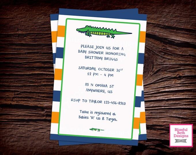 GATOR BABY SHOWER Gator Baby Shower Invitation, Florida Baby Shower Invite, Gator Shower, Gator Invitation, Alligator Baby Shower, Alligator