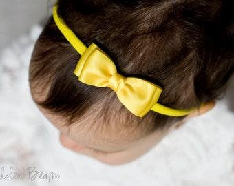 Yellow Olivia Baby Bow Headband - Flower Girl Headband - Girls Headband - Yellow Olivia Satin Bow Handmade Headband - Baby to Adult Headband