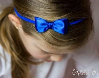 Royal Blue Olivia Baby Bow Headband - Flower Girl Headband - Royal Blue Olivia Satin Bow Handmade Headband - Baby to Adult Headband