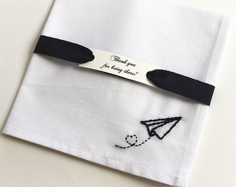 Paper airplane Wedding handkerchief Groom handkerchief Destination Wedding Personalized pocket square Heart embroidery Long distance gift