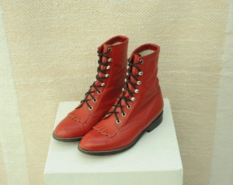 Vintage Cowtown Red Leather Roper Boots, Womens 5 1/2