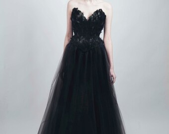 Black Swan Feather Corset Full Length Tulle Gown