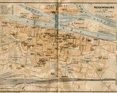1914 Regensburg  City Map, Street Plan, Bavaria, Germany, Baedeker