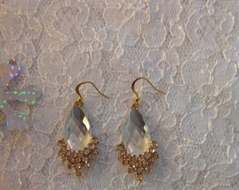 Clear And Champagne Crystal Earrings