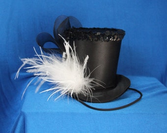 Black Mini Top Hat, Mad Hatter Hat, Derby Top Hat, Party Hat, Mad Hatter Tea Party Hat, Small Top Hat, Bridal Shower Hat, Pageant Hat