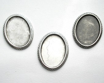 Six Pieces 18x13mm Rope Edge Settings in Antiqued Silver