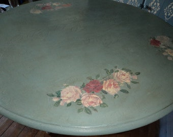 Bespoke Duck egg blue dining room table with vintage French typography & hand painted roses.