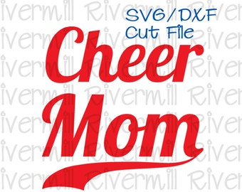 SVG DXF Cheer Mom with Swash Tail Cut File