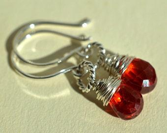 Dark Orange Earrings, Natural Zircon Earrings, Orange Gemstone Earrings, Sterling Silver Wire Wrapped Earrings,