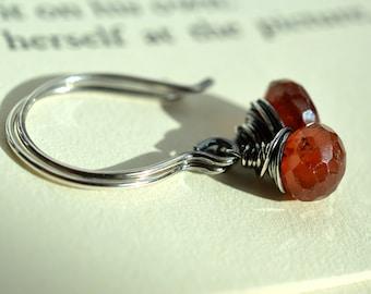 Hessonite Garnet Earrings, Orange Garnet Earrings, Oxidized Silver Earrings, Sterling Silver Earrings, Rustic Earrings, Orange Earrings