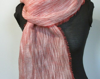 Scarf of pure airy linen pink Ready to ship