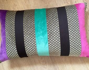 Linen RECTANGLE chocolate brown cushion cover. Pink STRIPE purple Stripe Teal stripe velvet cushion. Osborne and Little, brown velvet pillow