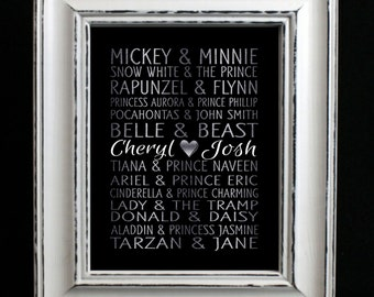Silver Leaf Style Disney Famous Couples Art Print, Wedding gift, couples gift, anniversary gift