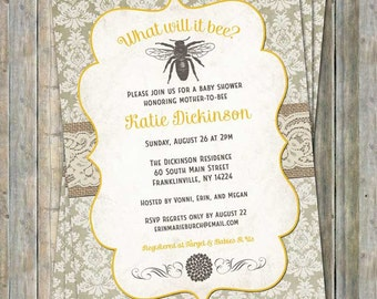 Mom-to Bee shower invitation, yellow,  off-white, gray, lace vintage, digital, printable file