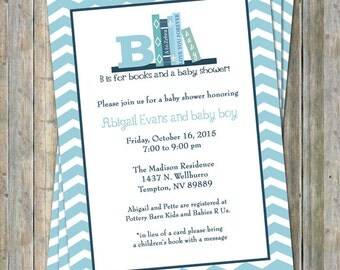 Bring a Book Baby Shower Invite, Baby boy shower invitation, Shades or Blue, printable, digital file