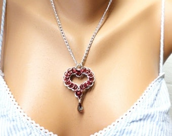 Red Chainmail Heart Necklace, Metal Heart jewelry, Red Heart Pendant, Chainmaille Jewelry