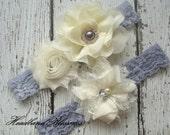 IVORY GRAY Bridal Garter Set - Ivory Keepsake & Toss Wedding Garters - Chiffon Frayed Flowers Rhinestone Pearl Garters - Vintage Lace Garter