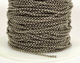 1.6mm Rolo Chain - Antique Silver - Made in the USA - CHG2-AS - Choose Your Length