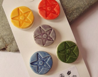 Ceramic Pottery Pentacle Magnet Set, Elements Magnet Set, Fridge Magnet,  Noticeboard Magnet set, Pagan Magnet, Wiccan Magnet