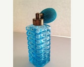 Now On Sale Vintage Perfume Bottle ** Aqua Glass Norleans Atomizer ** Mint In Box ** 50's 60's Mad Men Mod Mid Century Hollywood Regency Van