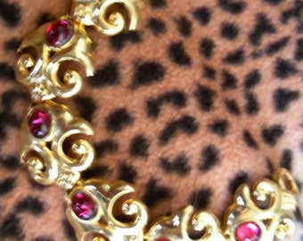 Now On Sale Vintage Red Rhinestone Bracelet Hollywood Regency Mad Men Mod Collectible Rockabilly Jewelry