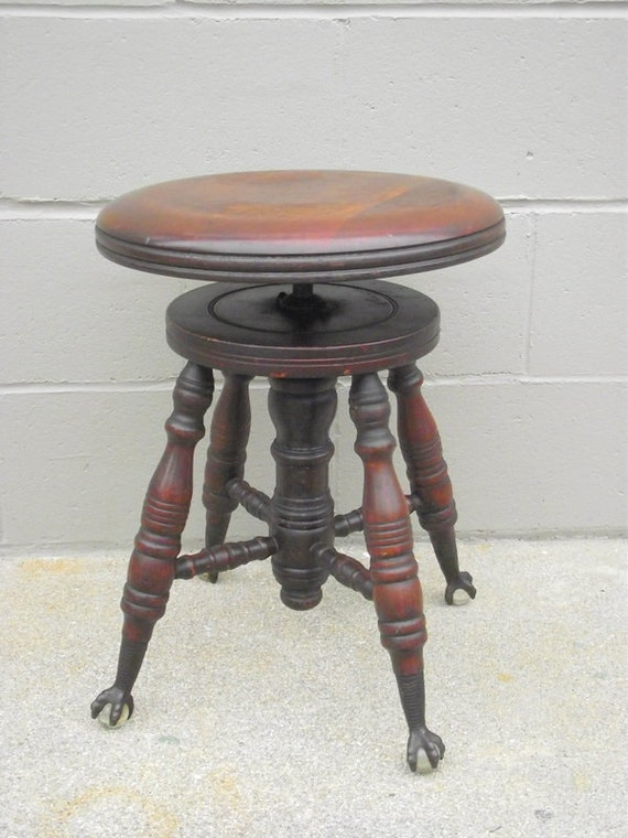 Antique Piano Stool Eagle Claw Glass Feet Round The Chas
