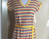 CLEARANCE Sale Vintage deadstock NWT terry cloth v neck red yellow blue dress Doggonits small medium