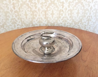 Vintage Curling Trophy - Silver Dish with Curling Stone Charm - Silver Ashtray - Sports Trophy Curling