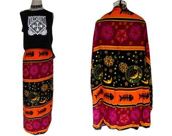 Fish Bone Neon Celestial Hippie Wrap Skirt Sarong Dress