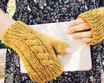 Knit Gloves, Mens Knit Gloves, Men's Texting Gloves, Fingerless Gloves, Womens Gloves, For Her, Mustard Yellow || DOUBLE CABLE GLOVES