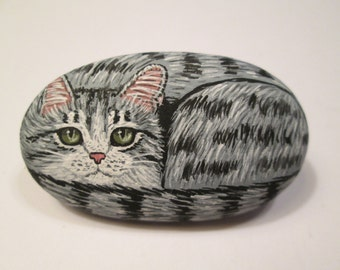 Gray Tabby Cat hand painted on a stone - pet rock - by Ann Kelly - miniature.