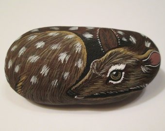 Fawn Baby Deer hand painted on a stone - pet rock - by Ann Kelly