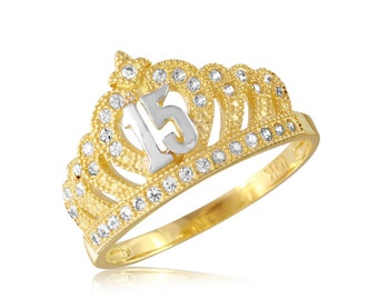 14K Gold and CZ Sweet 15 Crown Ring  Yellow Gold Quinceañera 15 Años Conora CZ Crown Ring ATCR-010