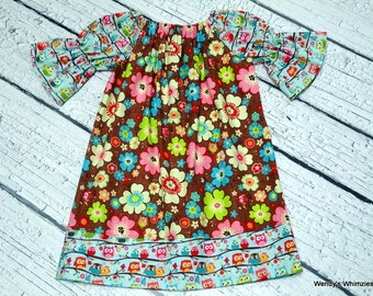 Girls Fall Peasant Dress Girls Owl Clothing Floral Back to School Size 2T, 3T, 4T, 5, 6, 8