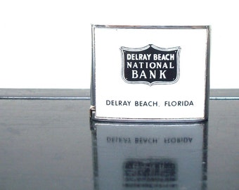 Vintage Delray Beach National Bank Souvenir Giveaway Measuring Tape - 5.5 Feet - Vintage Barlow Pocket Measuring Tape - Industrial Design