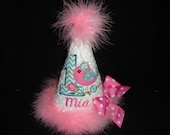 Special Order Rena 1ST Girls Bird Birthday Hat Personalized Teal Hot Pink Birdie Hat Party Smash Grannies Embroidery