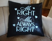 Wedding Mr and Mrs Always  Right Throw Pillow Cover Black Leather Look Material 18 by 18 size Envelope Throw Pillow Cover