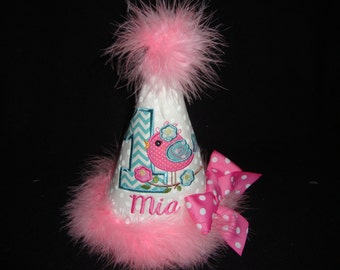 1ST Girls Bird Birthday Hat Personalized Teal Hot Pink Birdie Hat Party Smash Grannies Embroidery