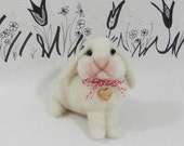 Needle felted lop ear bunny rabbit, rabbit soft sculpture figurine, custom bunny, large white lop ear, miniature rabbit, ready to mail