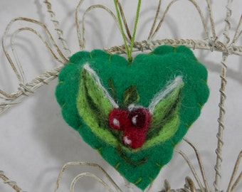 Needle felted heart ornament, Forget me not heart ornament, green wool heart with leaves and berries, heart pincushion, holiday keepsake