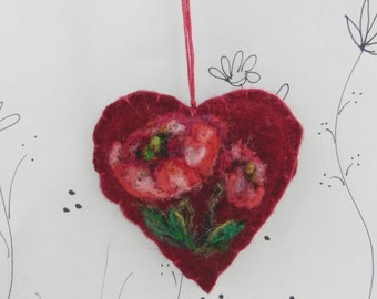 Needle felted heart ornament, brooch, pincushion, poppy ornament, Mothers Day, friend ornament, Forget me not heart from Curly Furr
