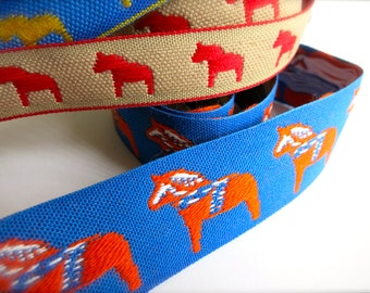 Dala Horse Embroidered Ribbon-Blue & Orange Trim-1 in. wide-Swedish Dalahasten-Scandinavian Woven Ribbon-Folk Horse-Scandi Winter Pattern