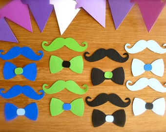 Mustache & Bow Tie Party Confetti-Lot of 48 DieCut Punches-Your Color CHOICE-Boy Birthday Party-Hipster Photo Booth-Wedding-Mustache Party
