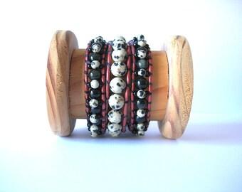 Reversible Wrap Bracelet - Triple Wrap Bracelet -  Dalmatian Jasper and Rainbow Obsidian Metallic Barn Red Leather Triple Wrap Bracelet