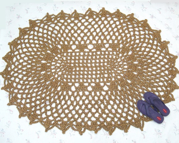 Lacy Oval Area Rug - Crochet Jute Rug - Natural Fiber Rug - Patio Rug - Floor Covering - Oval Doily Rug - Eco Friendly - Cabin Decor